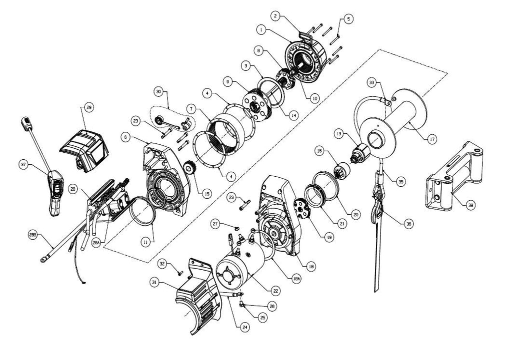 WARN 9.5cti Truck Winch Parts, exploded view