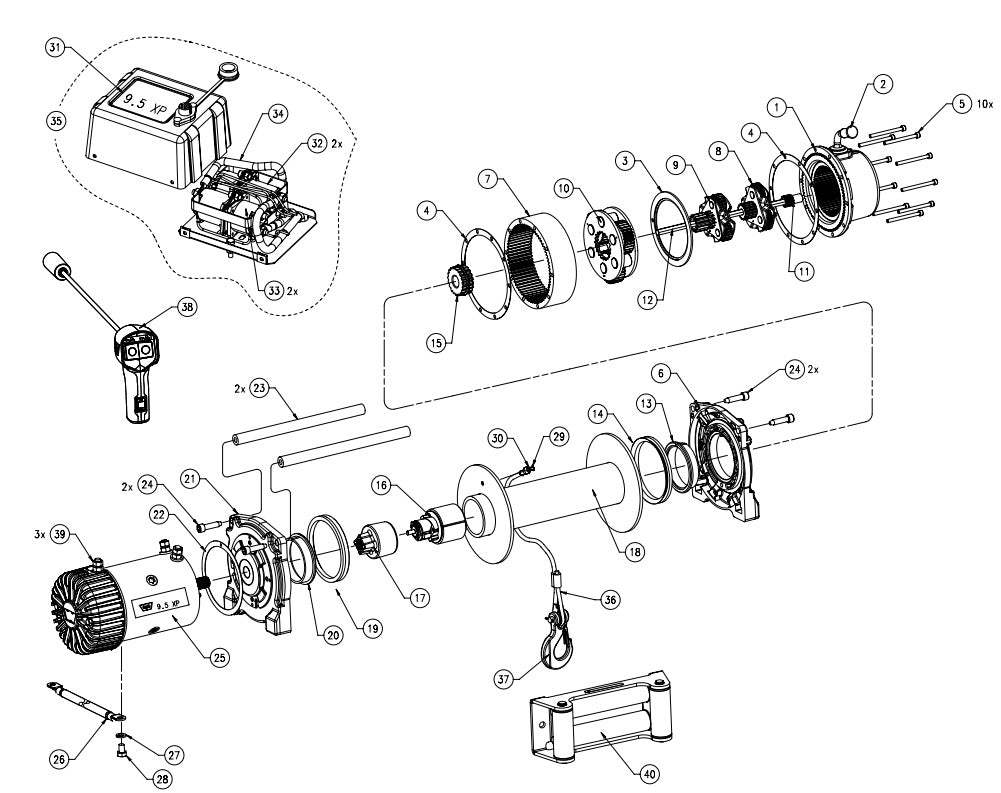 9.5xp?14594645817680306763 warn 9 5xp truck winch parts montana jacks outpost warn winch parts diagram at bakdesigns.co
