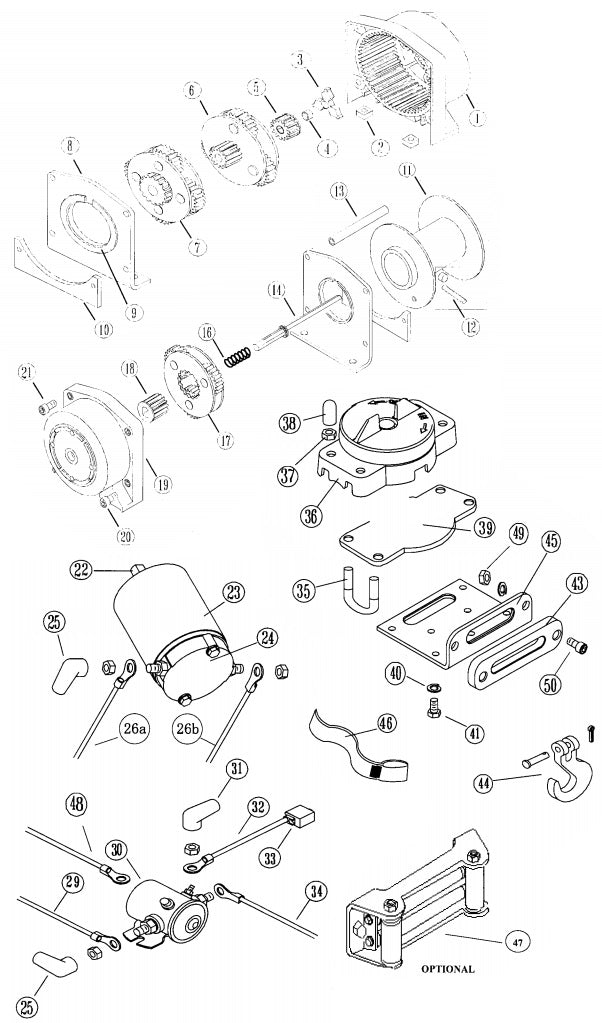 Warn A2000 Winch Parts Diagram
