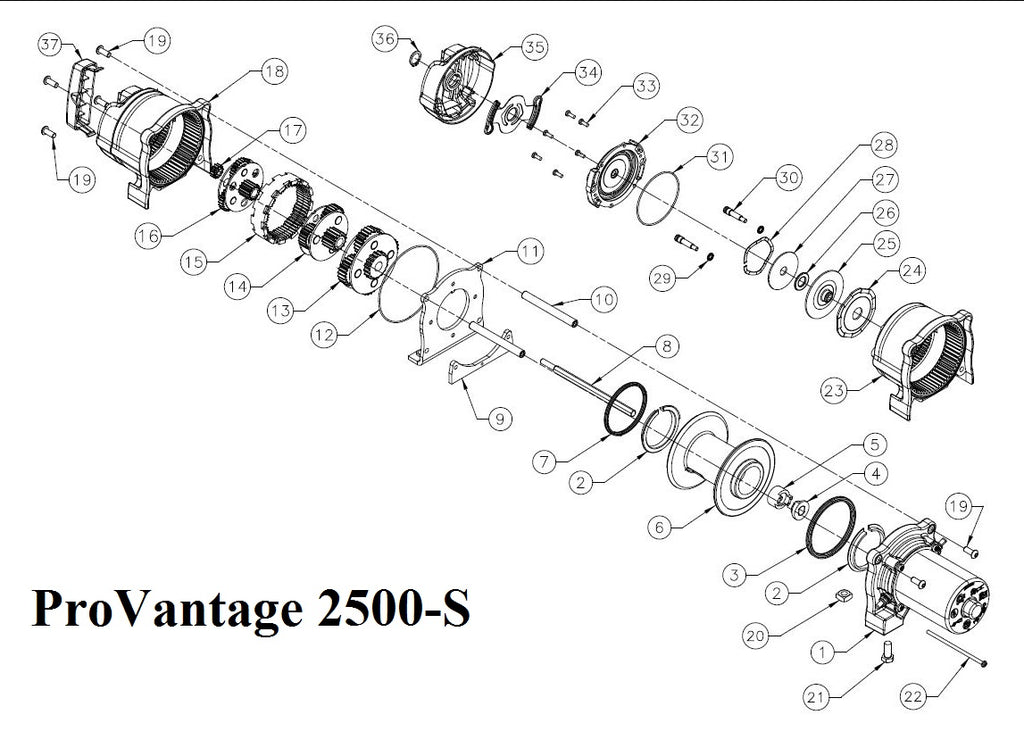 Warn Provantage 2500 S Winch Parts Page 2 Montana Jacks Outpost