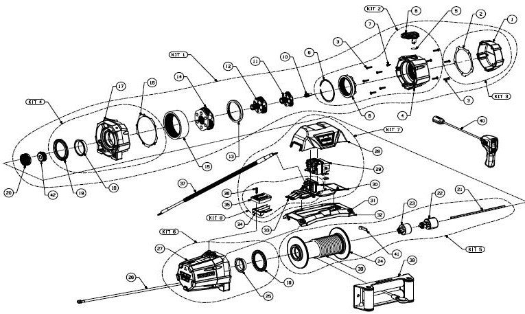 WARN Zeon 8 Truck Winch Exploded View