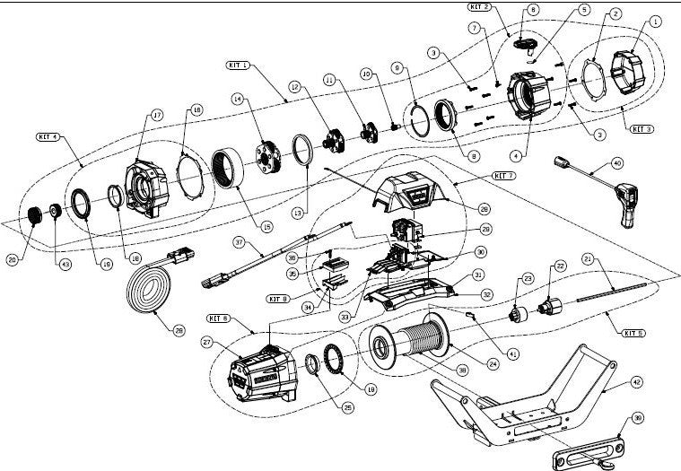 WARN Zeon 8 Multi Mount Truck Winch Exploded View