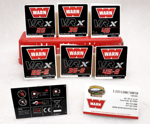 WARN 100994 ATV/UTV Winch Decal kit, for VRX 25, 35 & 45