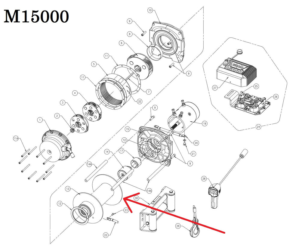 WARN 15466 Winch Drum Assy, for 16.5ti, M10000, M12000, M15000