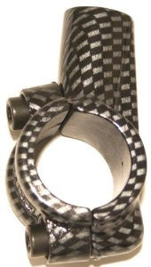 "Mirror bracket for 7/8"" bars, carbon fiber appearance."