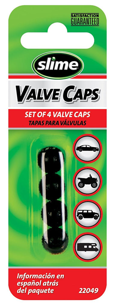 SLIME 2249 Standard Black Tire Valve Caps, set of 4