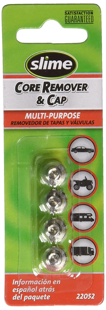 SLIME 22052 Valve Core Remover & Cap, set of 4, Chrome