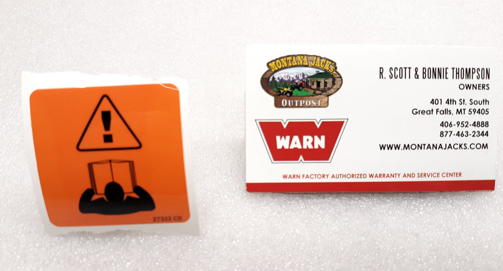 WARN 27322 Winch Warning Decal