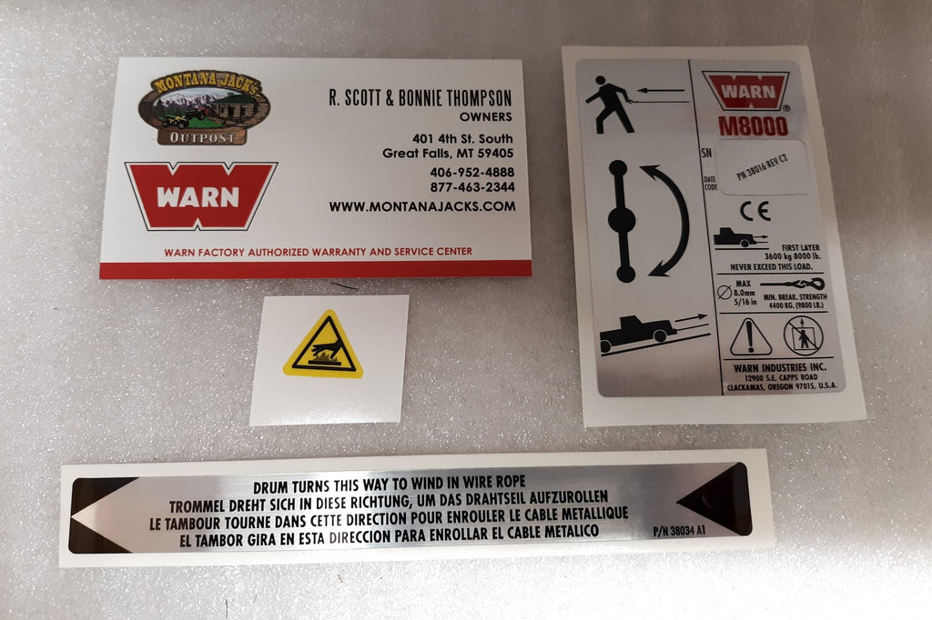 WARN 38304 Decal Kit for M8000 Winch