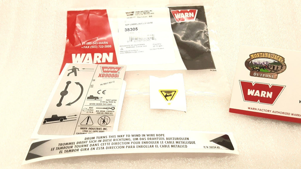 WARN 38305 Decal/Label kit for XD9000i Truck/SUV Winch