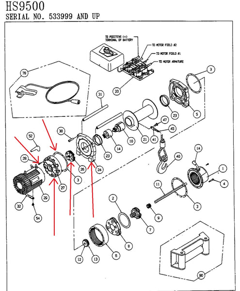 WARN 39433 Winch Drum Support Kit, motor end, for HS9500 on