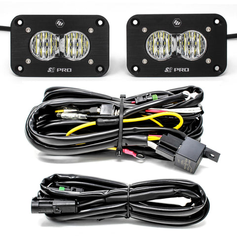 BAJA DESIGNS 487807 Flush Mount LED Light Pod Kit Wide Cornering Pair S2 Pro