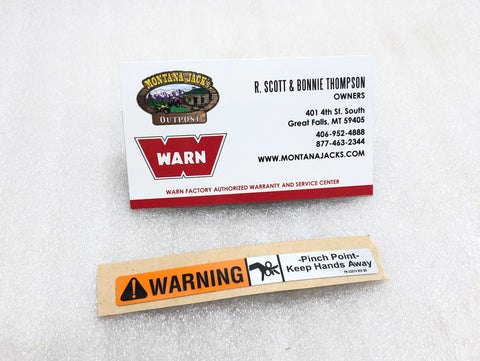WARN 62074 Fairlead Warning Label, Hawse/Roller