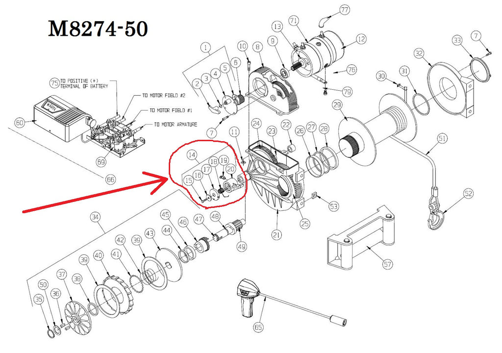 WARN 7605 Winch Brake Pawl Assembly for M8274