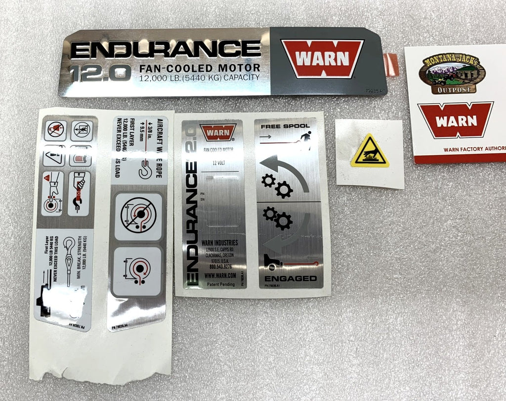 WARN 79621 Label Decal Kit for Endurance 12.0 Truck/SUV Winch