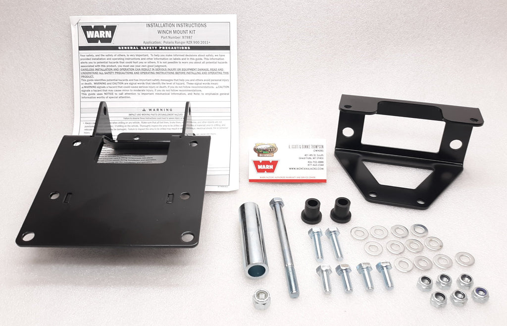 Warn 87987 UTV Winch Mount, 2011-14 POLARIS RZR 900 4x4 (XP) (EPS) (LE) (S) (4)