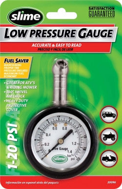SLIME 20096 Low Pressure Tire Gauge 1-20 psi range