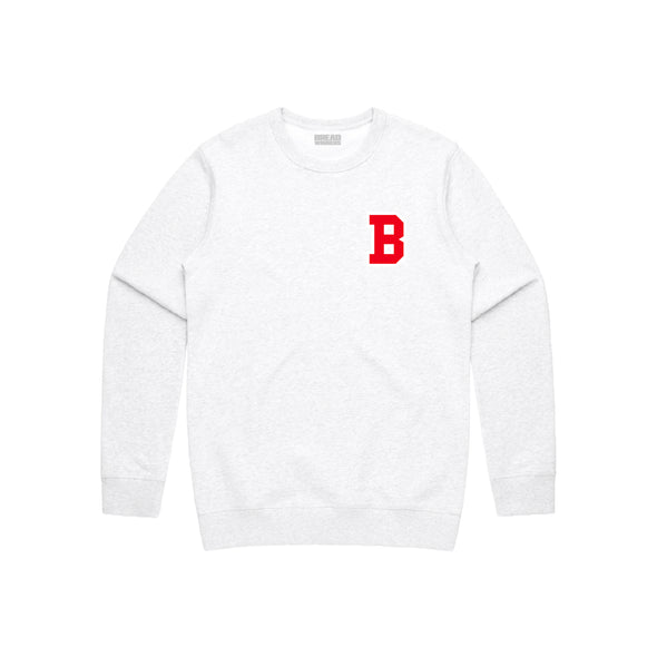 "Red ""B"" Crewneck Sweater"