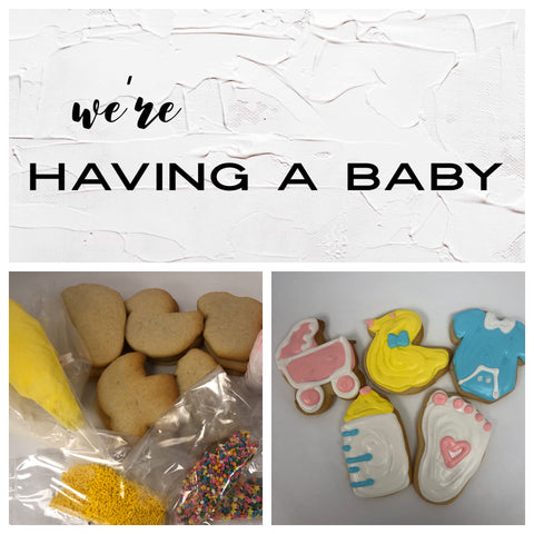 We're Having a baby cookie decorating kit