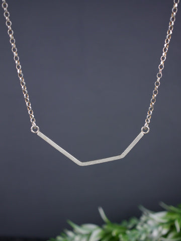 Minimal Asymmetrical Silver Bar Necklace