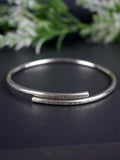 Textured Handmade Adjustable Silver Bangle