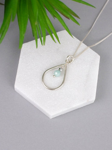 amazonite-silver-teardrop-droplet-necklace