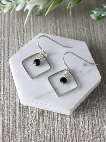 Black Crystal Square Silver Dangly Earrings
