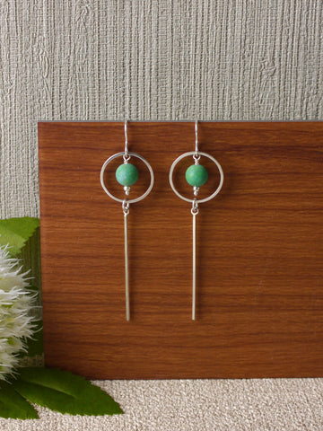 Long Turquoise Circle Bar Silver Earrings