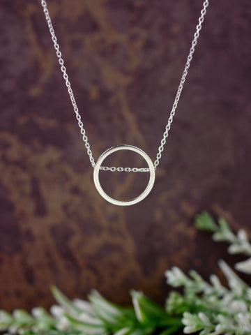 modern circle round small geometric silver silver pendant necklace