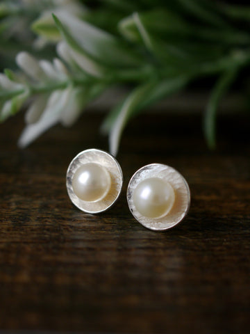 White Pearl and Textured Silver Disc Every Day Earrings