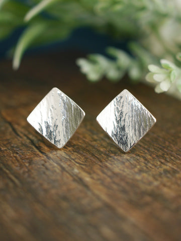 Super Flattering Curved Diamond Shaped Silver Studs