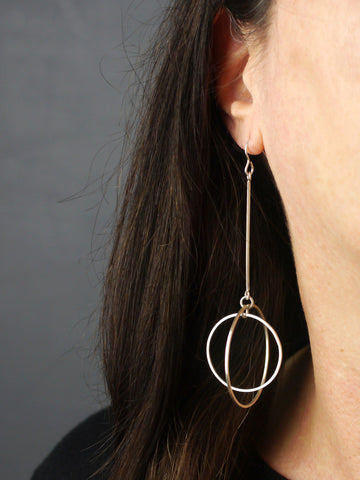 Large Double Circle Long Silver Statement Earrings
