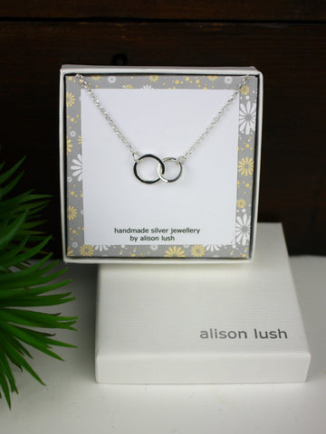 Small double Silver Circle Necklace