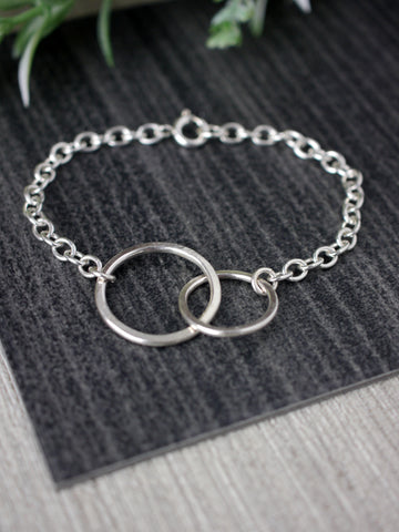 Two Circle Silver Linked Bracelet