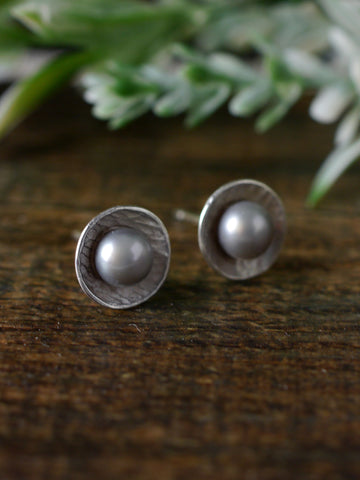 Warm Grey Cultured Pearl and Silver Studs