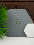 Grey Mother of Pearl Silver Circle Pendant