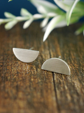 Contemporary Half Circle Geometric Silver Studs