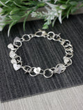 Heart Silver Circle Linked Bracelet
