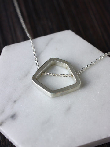 Hexagon Chained Silver Pendant
