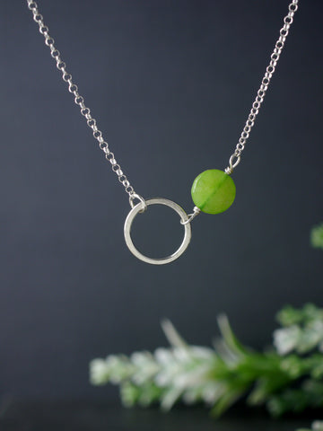 Green Jade Asymmetrical Circle Silver Necklace