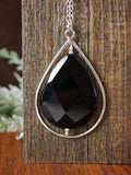 Long Statement Black Onyx Teardrop Necklace