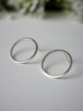 large silver circle geometric statement silver stud earrings