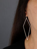 Large Diamond Drop Dangly Silver Earrings