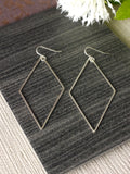 large diamond statement silver drop earrings