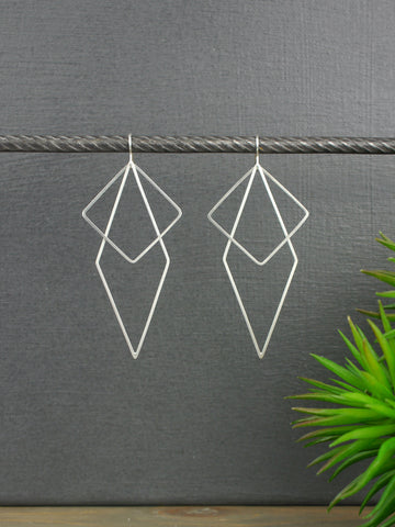 Diamond Geometric Statement Silver Earrings