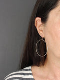 Large Simple Silver Circle Dangly Earrings