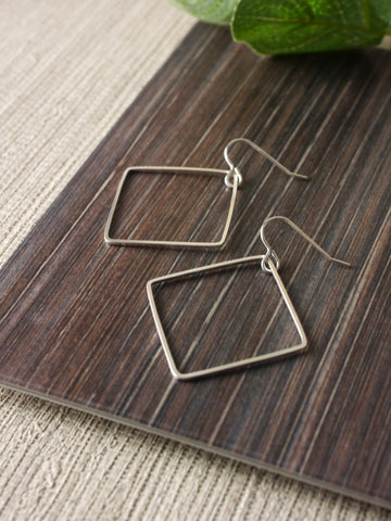 Large Square Statement Silver Dangly Earrings