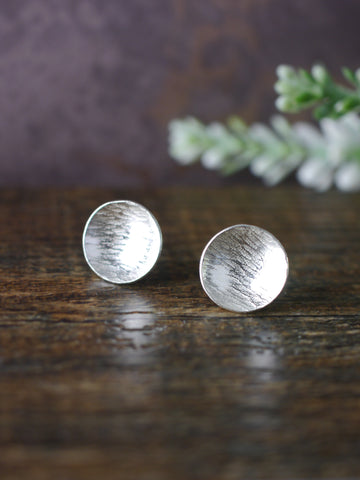 Large Textured Silver Disc Earrings