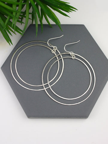 Largest Circle Silver Statement Earrings