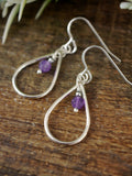 Amethyst Silver Droplet Earrings